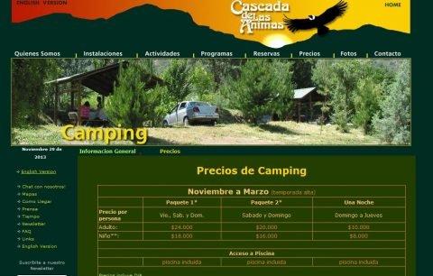 'Camping Precios Cascada de las Animas' - www_cascadadelasanimas_cl_index_cajon_del_maipo_actividades_camping_y_picnic_camping_precios_php