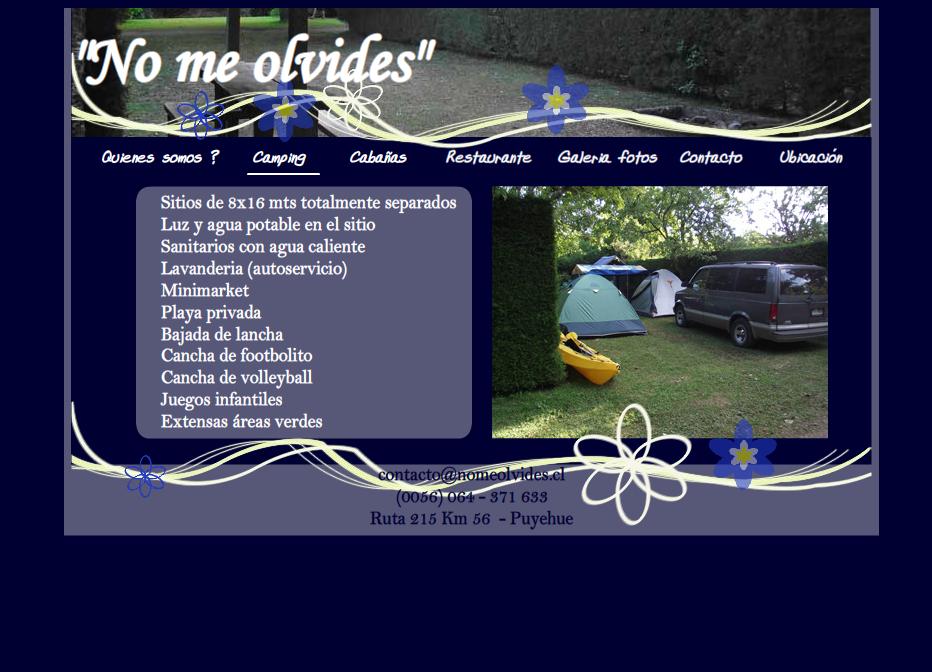 'Camping No Me Olvides' - www_nomeolvides_cl_camping_html